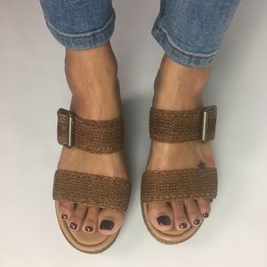 B.O.C. Double Strap Wedge Sandals Brown Size 8